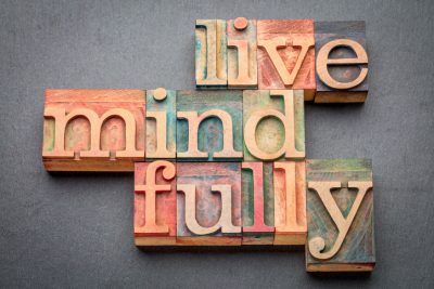 live mindfully in wood type